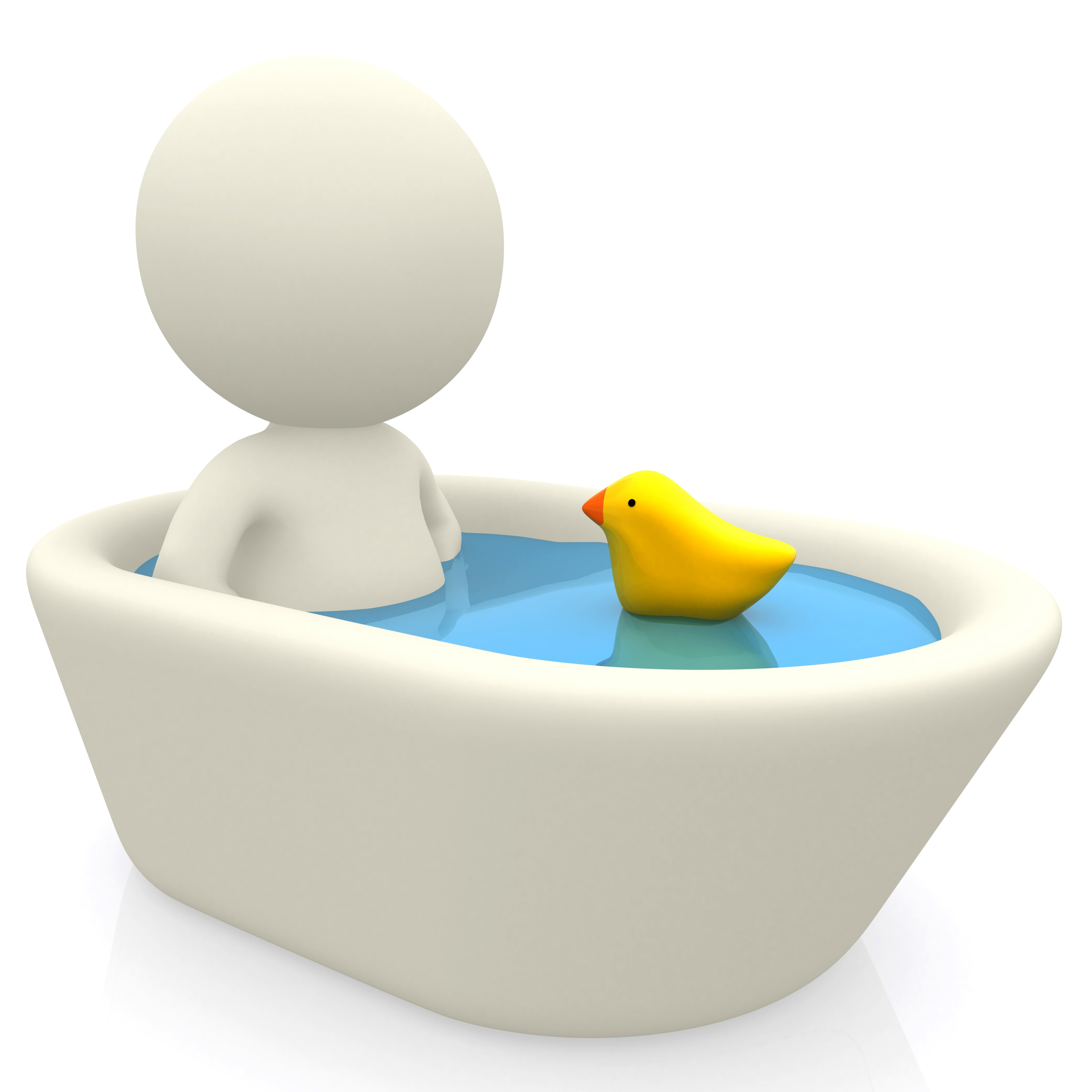 3D man taking a bath in the tub - isolated